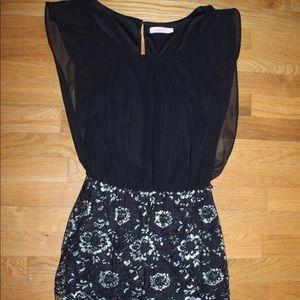 formal black & silver floral dress